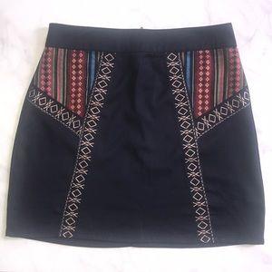 Francesca's Blue Rain Embroidered Skirt Size S